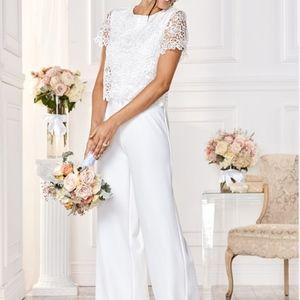VENUS Lace Detail Jumpsuit, White